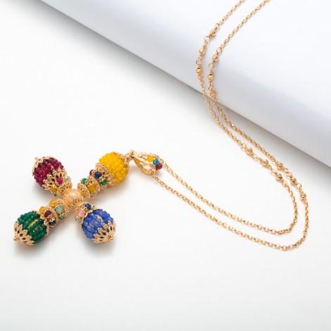 Collana con croce stilizzata in agate colorate