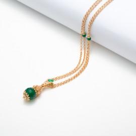 Collana con pendente in agata verde