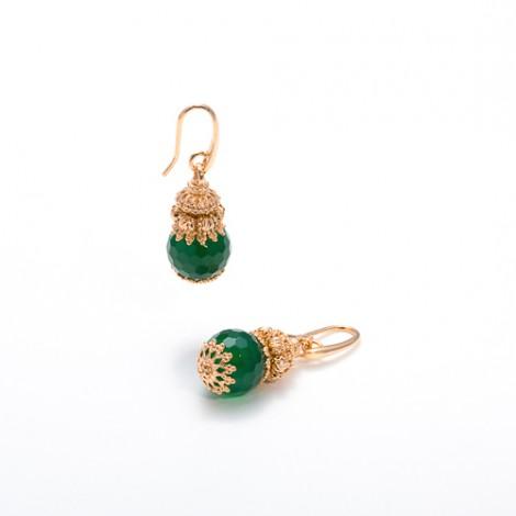 Orecchini con pendente in agata verde