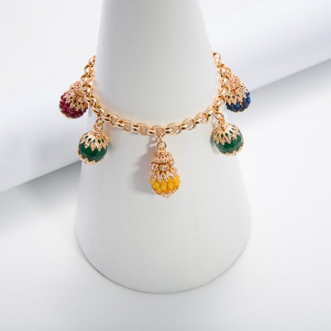 Bracciale con charms in agate multicolor